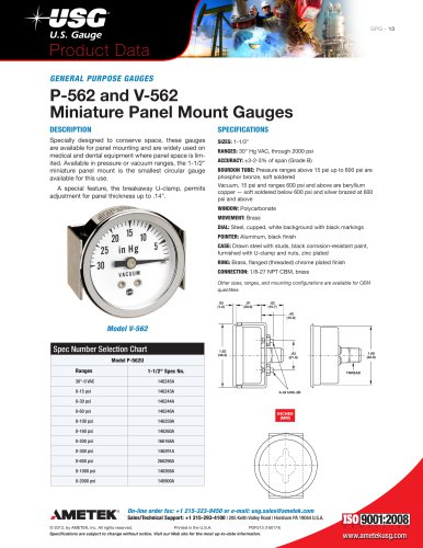 P-562 and V-562 Miniature Panel Mount Gauges