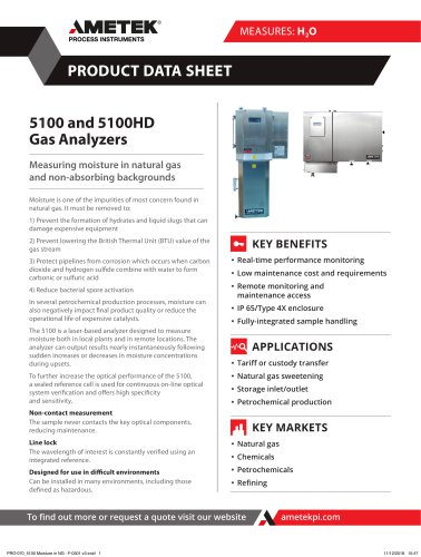 5100  and 5100HD Gas Analyzers