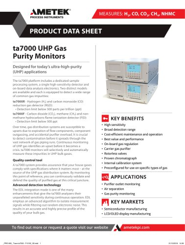 ta7000 Series UHP Gas Purity Monitors
