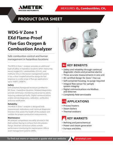 WDG-V Zone 1EXd Flame-Proof Flue Gas Oxygen & Combustion Analyzer