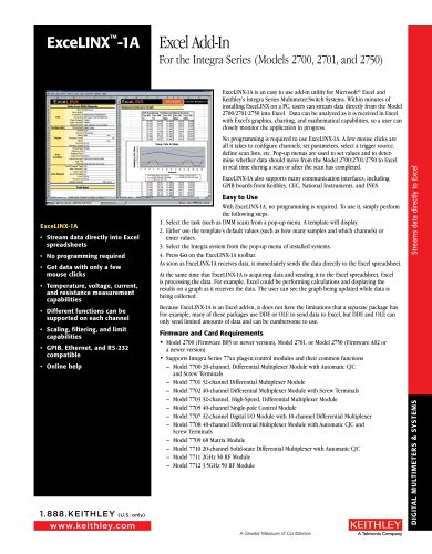 ExceLINX-1A Excel Add-In for Integra Series (Models 2700, 2701, and 2750)