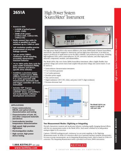 High Power System SourceMeter® Instrument
