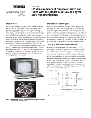 I-V Measurements of Nanoscale Wires and Tubes