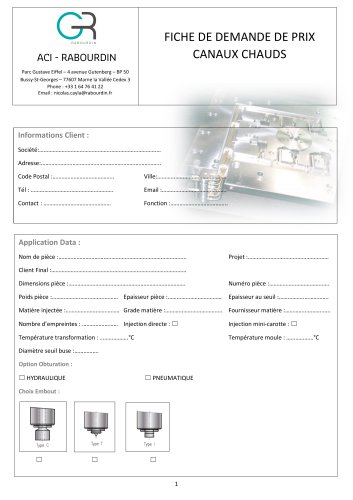 CANAUX CHAUDS - BUSE A OBTURATION - BUSE MULTIPOINTS