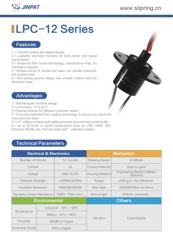 LPC-12 Series Capsule Slip Ring