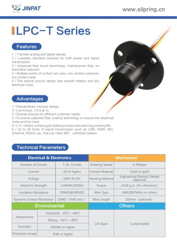 LPC-T Series Capsule Slip Ring