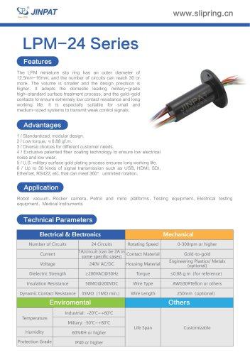 LPM-24 Series Minature Slip Ring