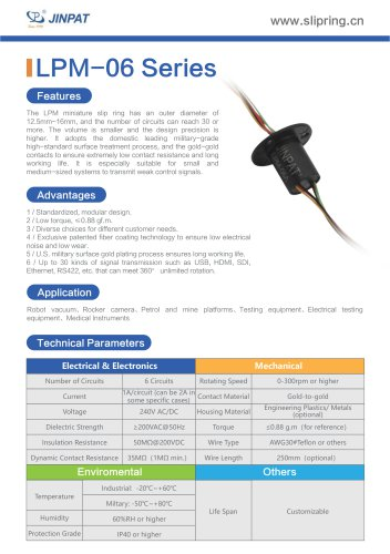 LPM-6 Series Minature Slip Ring