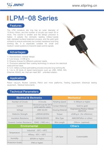 LPM-8 Series Minature Slip Ring