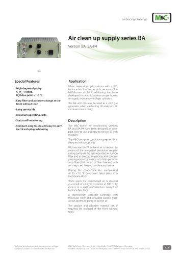 Air clean up supply series BA