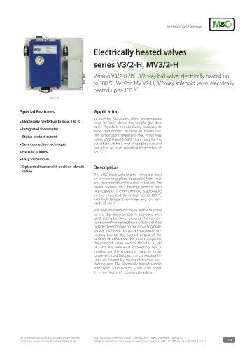 Electrically heated valves series V3/2-H, MV3/2-H