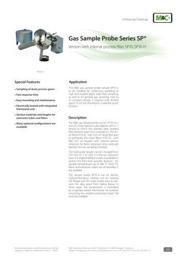 Gas Sample Probe Series SP® - Version SP10, SP10-H
