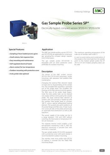 Gas Sample Probe Series SP® - Version SP210-H, SP210-H/W