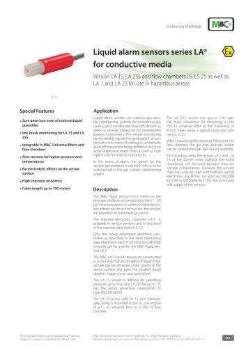 Liquid alarm sensors series LA® for conductive media