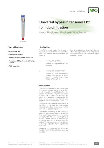 Universal bypass filter series FP®  for liquid filtration