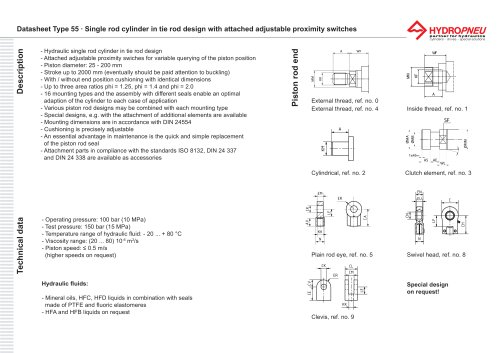 Type 55 · Hydraulic single rod cylinder in tie rod design with built-on variable proximity switches