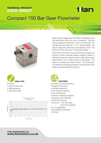 Compact 700 Bar Oval Gear Flowmeter