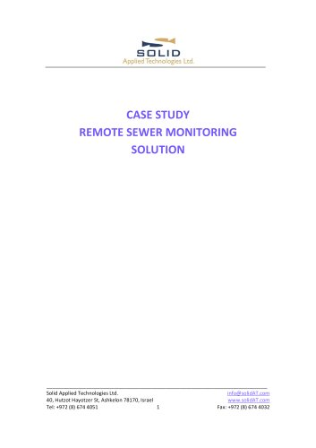 Case Study - Sewer Level Monitoring