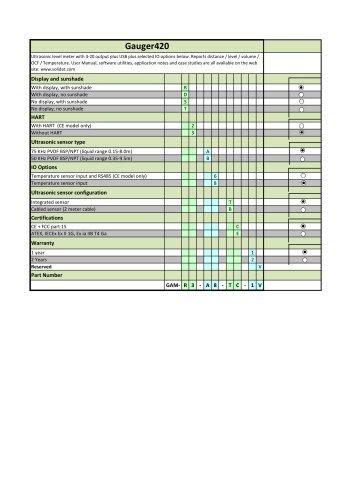 Gauger 420 - Model Selection Guide