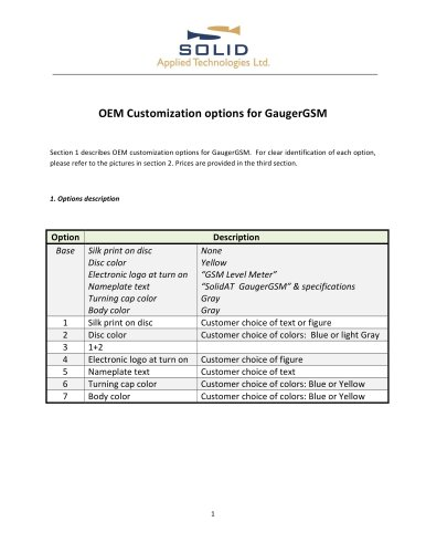 OEM options for GaugerGSM