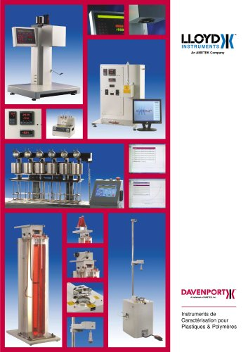 Davenport Instruments de Caractérisation pour Plastiques & Polymères