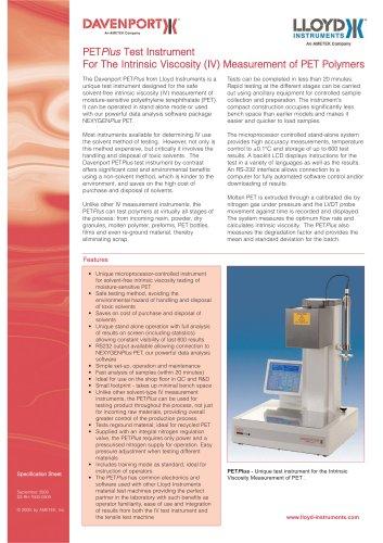 PETPlus Instrument for IV Measurement of PET
