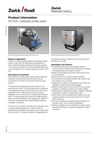 20 l/min. hydraulic power-pack