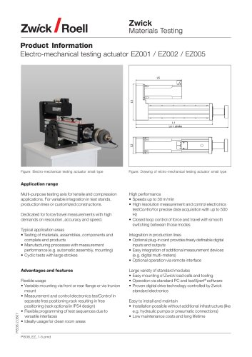 Electro-mechanical testing actuator EZ 1 up to 5 kN