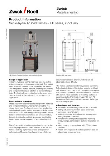 Servo-hydraulic load frames – HB series, 2-column