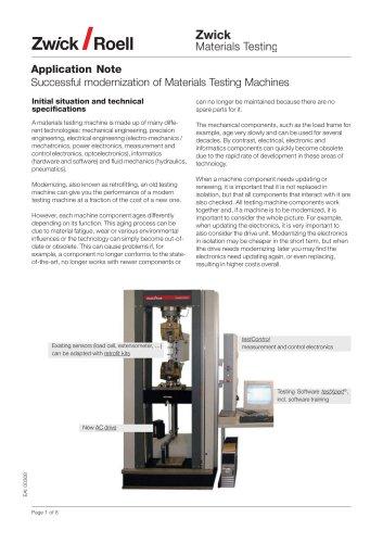 Successful modernization of materials testing machines