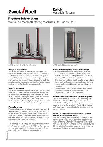 zwickiLine materials testing machines Z0.5 up to Z2.5