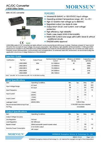60W, AC-DC converter LHE60-20Bxx Series