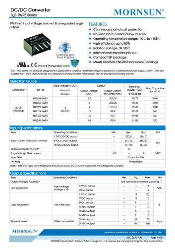 B_S-1WR3 Series--1W, Fixed input voltage, isolated & unregulated single output