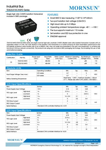 Compact Size SMD CANTransceiver Modules TDx31SCANFD