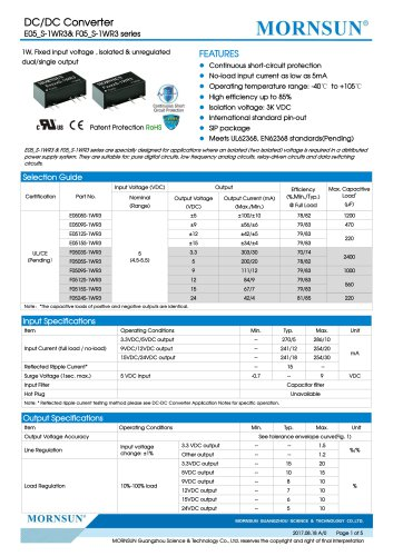 E05_S-1WR3& F05_S-1WR3 series--1W, Fixed input voltage , isolated & unregulated dual/single output