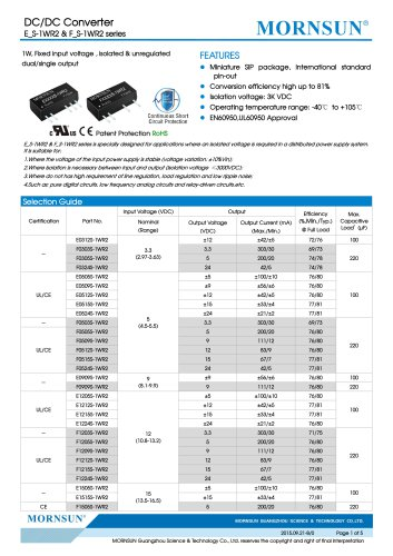 F_S-1WR2 / 1watt DC-DC converter / Single output