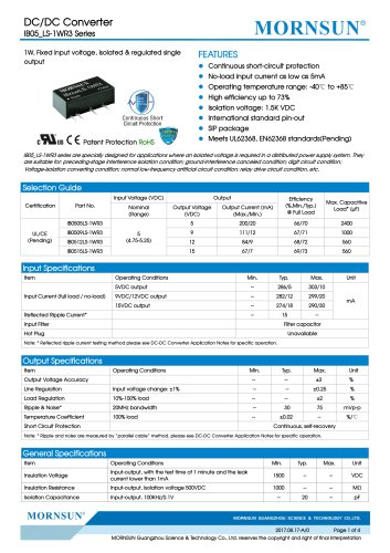 IB05_LS-1WR3 Series--1W, Fixed input voltage, isolated & regulated single output