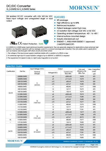 Medical Fixed Input DCDC Converter H_S-2WR2