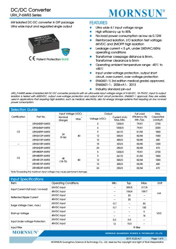 Medical Wide Input DCDC Converter URH_P-6WR3