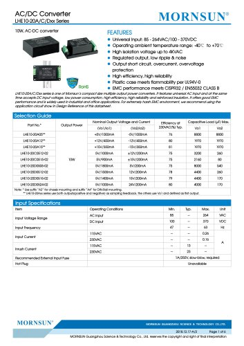 MORNSUN 10W 85-264VAC input dual outputs AC/DC Converter LHE10-20Axx