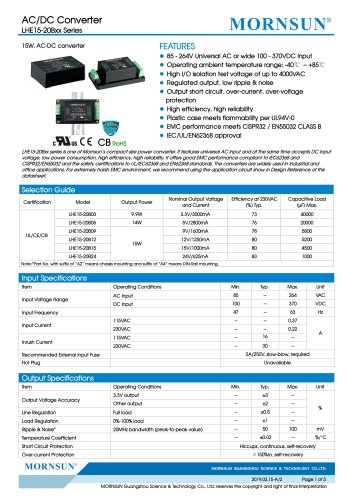 MORNSUN 15W 85-264VAC input AC/DC Converter LHE15-20Bxx