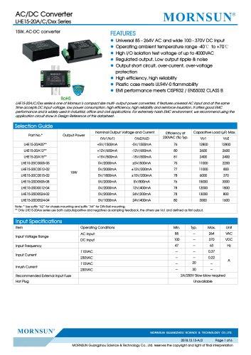 MORNSUN 15W 85-264VAC input triple outputs AC/DC Converter LHE15-20Cxxxx