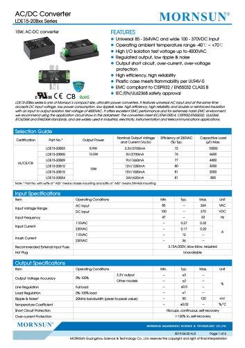 MORNSUN 15W Ultra small size AC/DC converter LDE15-20B03