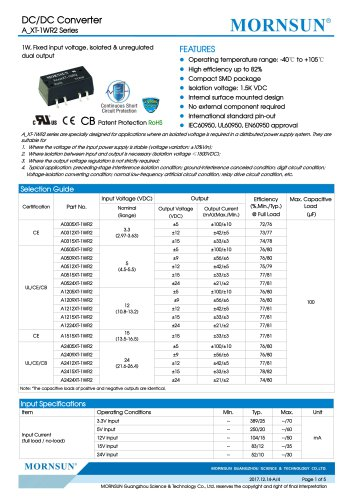 MORNSUN 1Watt/Fixed input voltage/isolated & dual outputs DC DC power suplly/converter A_XT-1WR2