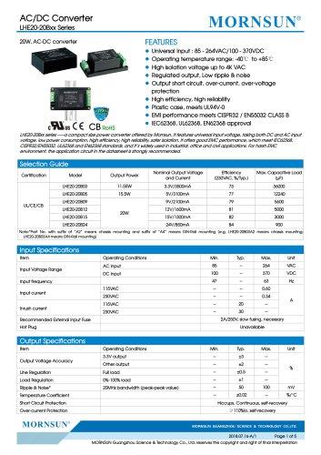 MORNSUN 20W 85-264VAC input AC/DC Converter LHE20-20Bxx