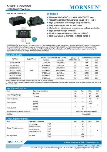 MORNSUN 20W 85-264VAC input triple outputs AC/DC Converter LHE20-20Cxxxx
