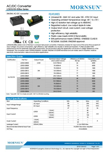 MORNSUN 3-5W Ultra small size 85-264VAC input AC/DC converterLDE03/05-20Bxx