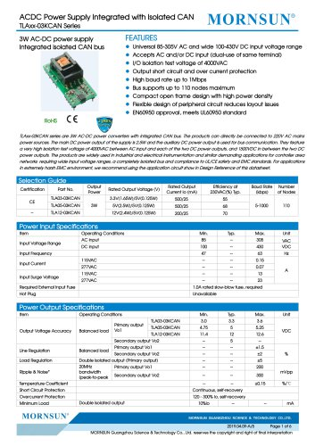 MORNSUN 3W AC-DC power supply Integrated isolated CAN bus-TLAxx-03KCAN