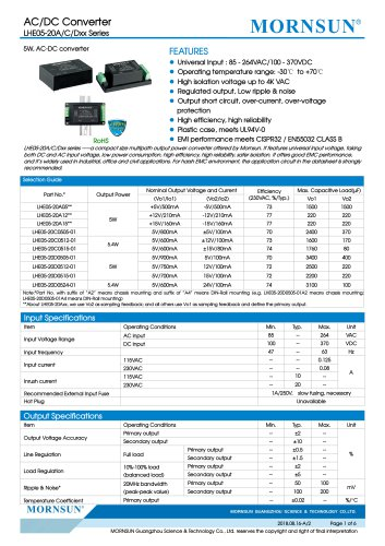 MORNSUN 5W 85-264VAC input dual outputs AC/DC Converter LHE05-20Axx