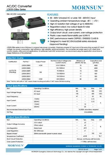 MORNSUN 5W compact 85-305VAC wide input AC/DC converter LDE05-23Bxx